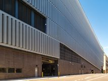 New York, NY - wide angle view of the DSNY's modern garage located in the Soho section of Manhattan stock photos