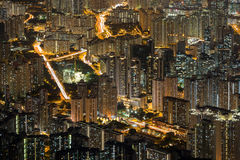 View of New Kowloon in Hong Kong at night Royalty Free Stock Image