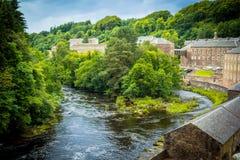 View of New Lanark Heritage Site, Lanarkshire in Scotland, United Kingdom,. Europe Stock Image