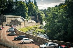 View of New Lanark Heritage Site, Lanarkshire in Scotland, United Kingdom. Europe Royalty Free Stock Photography