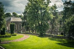 View of New Lanark Heritage Site, Lanarkshire in Scotland, United Kingdom. United Kingdom, Europe Stock Photos