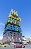View of new, modern, colourful and futuristic looking apartment complex Royalty Free Stock Photos