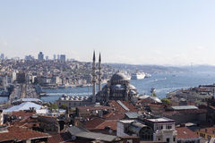 View of the New Mosque, Galata Bridge, Golden Horn and the Bosphorus. Istanbul. Turkey. Stock Photo