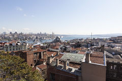 View of the New Mosque, Galata Bridge, Golden Horn and the Bosphorus. Istanbul. Turkey. Royalty Free Stock Photos