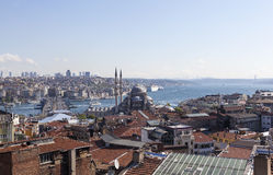 View of the New Mosque, Galata Bridge, Golden Horn and the Bosphorus. Istanbul. Turkey. Royalty Free Stock Photo