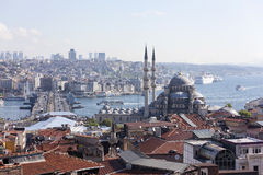 View of the New Mosque, Galata Bridge, Golden Horn and the Bosphorus. Istanbul. Turkey. Stock Photos