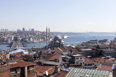 View of the New Mosque, Galata Bridge, Golden Horn and the Bosphorus. Istanbul. Turkey. Royalty Free Stock Images