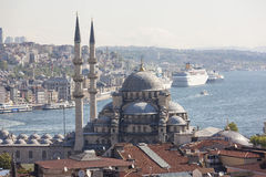 View of the New Mosque, the Golden Horn and the Bosphorus. Istanbul. Turkey. Stock Images