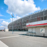 View of new Pierre Mauroy football stadium ticket office. Lille, France - August 14, 2015: view of new Pierre Mauroy football stadium ticket office ready for royalty free stock photos