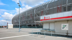 View of new Pierre Mauroy football stadium ticket office. Lille, France - August 14, 2015: view of new Pierre Mauroy football stadium ticket office ready for royalty free stock photo