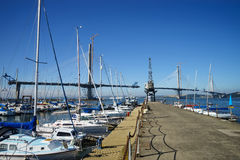 A view of the new Queensferry Crossing Bridge under construction, seen from the main pier of Port Edgar Edinburgh, Scotland Royalty Free Stock Images
