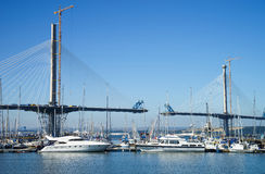 A view of the new Queensferry Crossing Bridge under construction, seen from Port Edgar Edinburgh, Scotland. Royalty Free Stock Photography