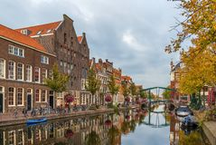 New Rhine river in Leiden, Netherlands Royalty Free Stock Image