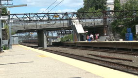 View of New Rochelle station stock video footage