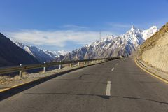View on the new silk road National Highway 35 or China-Pakistan. Friendship Highway Royalty Free Stock Image