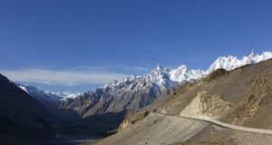 View on the new silk road National Highway 35 or China-Pakistan Royalty Free Stock Image