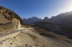 View on the new silk road National Highway 35 or China-Pakistan. Friendship Highway Stock Photos