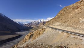 View on the new silk road National Highway 35 or China-Pakistan Royalty Free Stock Photos