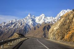 View on the new silk road National Highway 35 or China-Pakistan. Friendship Highway Royalty Free Stock Photos