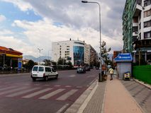 New Tirana Neighborhood, Tirane, Albania 2018. The view of New Tirana Neighborhood, the apartment building with arrows and the genius apartment building, Tirana royalty free stock images