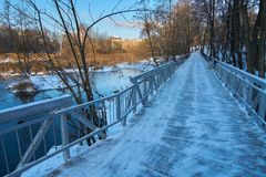 View on new wooden walkway and bridge royalty free stock images
