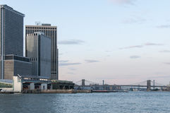 View of New York from the bay. Shot from the ferry to Staten Island Royalty Free Stock Image