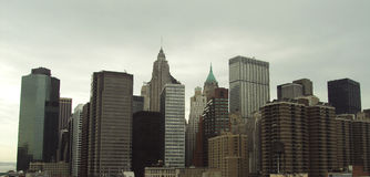 View on New York city from Brooklyn Bridge in 2009 year Stock Images