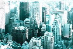 View Of New York City Buildings. View of many buildings and skyscraper across New York City with modern tone Stock Image