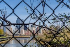 View of New York City cityscape, Lower Manhattan from the Jersey City through grid royalty free stock photos