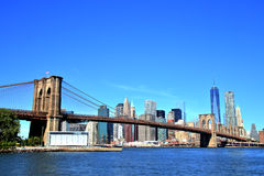 View of New York City Downtown Skyline with Brooklyn Bridge Royalty Free Stock Photography