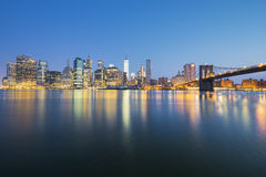 View of New York City Manhattan midtown at dusk Royalty Free Stock Photos