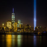 View of New York City from New Jersey - cityscape including the Freedom Tower Royalty Free Stock Image