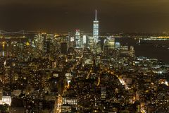 View of New York city at night time