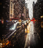 View of New York City on Rainy Evening Stock Images