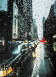 View of New York City on Rainy Evening Royalty Free Stock Image