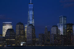 View of New York City Skyline at dusk featuring One World Trade Center (1WTC), Freedom Tower, New York City, New York, USA Royalty Free Stock Images