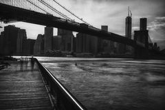 View of New York City, USA, Brooklyn Bridge. Royalty Free Stock Photos