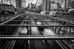 View of New York City, USA, Brooklyn Bridge. Royalty Free Stock Images