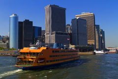 View of New York City, USA. Staten Island Ferry. Royalty Free Stock Images