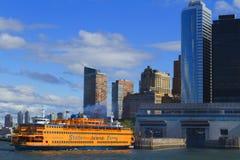 View of New York City, USA. Staten Island Ferry. Stock Photo