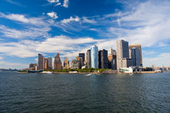View on New York from Hudson River. US Royalty Free Stock Photo