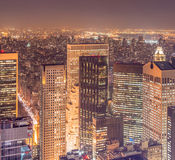 The view of new york manhattan during sunset hours Stock Image