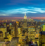 The view of new york manhattan during sunset hours Royalty Free Stock Images