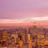The view of new york manhattan during sunset hours Stock Photo