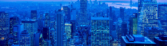 The view of new york manhattan during sunset hours Stock Photography