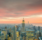 The view of new york manhattan during sunset hours Royalty Free Stock Photo
