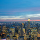 The view of new york manhattan during sunset hours Royalty Free Stock Photography