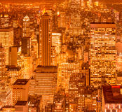 The view of new york manhattan during sunset hours Royalty Free Stock Image