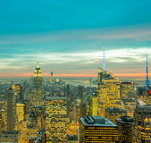 The view of new york manhattan during sunset hours Royalty Free Stock Photos