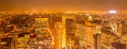 The view of new york manhattan during sunset hours Stock Images